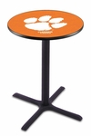 Clemson University 36''H Black Wrinkle Finish Counter Height Pub Table with X-Base [L211B36CLMSON-FS-HOB]