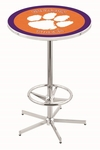 Clemson University 42''H Chrome Finish Bar Height Pub Table with Foot Ring [L216C42CLMSON-FS-HOB]