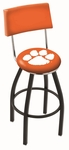 Clemson University 25'' Black Wrinkle Finish Swivel Counter Height Stool with Cushioned Back [L8B425CLMSON-FS-HOB]