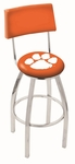 Clemson University 25'' Chrome Finish Swivel Counter Height Stool with Cushioned Back [L8C425CLMSON-FS-HOB]