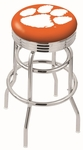 Clemson University 25'' Chrome Finish Double Ring Swivel Backless Counter Height Stool with Ribbed Accent Ring [L7C3C25CLMSON-FS-HOB]