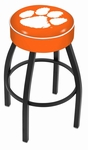Clemson University 25'' Black Wrinkle Finish Swivel Backless Counter Height Stool with 4'' Thick Seat [L8B125CLMSON-FS-HOB]