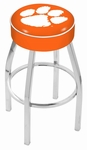 Clemson University 25'' Chrome Finish Swivel Backless Counter Height Stool with 4'' Thick Seat [L8C125CLMSON-FS-HOB]