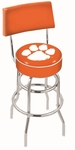 Clemson University 25'' Chrome Finish Swivel Counter Height Stool with Double Ring Base [L7C425CLMSON-FS-HOB]