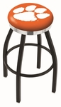 Clemson University 25'' Black Wrinkle Finish Swivel Backless Counter Height Stool with Chrome Accent Ring [L8B2C25CLMSON-FS-HOB]