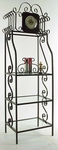 Wrought Iron 24''W x 78''H Clock Etagere with Tempered Glass Shelves [GMC-CL-100-FS-GCM]