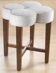 Clover Wood 20.5''H Vanity Stool with White Fabric Seat - Cherry [50958-FS-HILL]