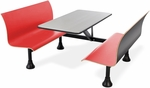 Retro Bench 24'' x 48'' Stainless Steel Top and Wall Frame - Red Seats [1006W-RED-MFO]