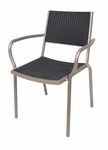 Cocoa Beach Stackable Outdoor Titanium Silver Arm Chair [DV351GRTS-BFMS]