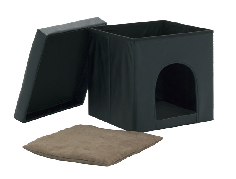 collapsible 15 vinyl ottoman and pet bed   black 61000