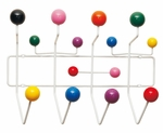 Wall Hanging White Metal Coat Rack with Colored Wood Bubbles [MM-CH-01-COLOR-FS-MDM]