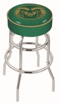 Colorado State University 25'' Chrome Finish Double Ring Swivel Backless Counter Height Stool with 4'' Thick Seat [L7C125COLOST-FS-HOB]
