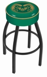 Colorado State University 25'' Black Wrinkle Finish Swivel Backless Counter Height Stool with 4'' Thick Seat [L8B125COLOST-FS-HOB]
