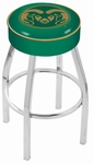 Colorado State University 25'' Chrome Finish Swivel Backless Counter Height Stool with 4'' Thick Seat [L8C125COLOST-FS-HOB]