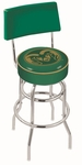 Colorado State University 25'' Chrome Finish Swivel Counter Height Stool with Double Ring Base [L7C425COLOST-FS-HOB]