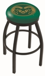 Colorado State University 25'' Black Wrinkle Finish Swivel Backless Counter Height Stool with Accent Ring [L8B2B25COLOST-FS-HOB]