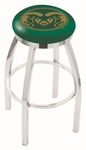 Colorado State University 25'' Chrome Finish Swivel Backless Counter Height Stool with Accent Ring [L8C2C25COLOST-FS-HOB]
