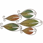Colorful Bronze Oil Rubbed Metal School of Fish 13''H Wall Art - Gold and Green [2621-FS-PAS]