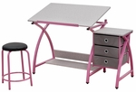 Comet Craft and Storage Center with Stool - Pink and Splatter Gray [13319-FS-SDI]