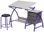 Comet Craft and Storage Center with Stool - Purple and Splatter Gray [13320-FS-SDI]