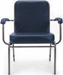 Comfort Class Big & Tall 500 lb. Capacity Anti-Microbial and Anti-Bacterial Vinyl Stack Chair with Arms- Navy [300-XL-VAM-605-MFO]