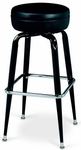 Black Frame Barstool with Square Chrome Footring - Round Black Vinyl Seat [1172-65-MPL]