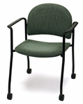 Endurance Stack Chair with Black Frame Casters - Crescent Back [2923PL-MPL]