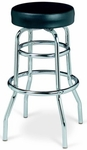 Chrome Double Ring Bar Stool with Round Footrest and Flat Upholstered Seat [DR-9-40-MPL]