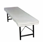 Commercialite White Polyethylene Bench with Locking Legs - 72''D [77815B-MCC]