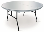 Commercialite Round Polyethylene Folding Table with Locking Legs - 60'' Diameter [77840-MCC]