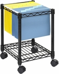 15.5'' W x 14'' D x 19.75'' H Compact Mobile File Cart with Bottom Shelf - Black [5277BL-FS-SAF]