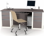 Connexion Executive Desk Set with Wire Management and Modesty Panel - Sandstone and Slate [93850-59-FS-BS]