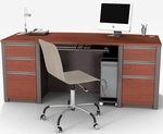 Connexion Executive Desk Set with Wire Management and Modesty Panel - Bordeaux and Slate [93850-39-FS-BS]