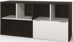 Contempo Credenza with One Legal or Letter Size Filing Drawer - Tuxedo and Sandstone [50610-1160-FS-BS]