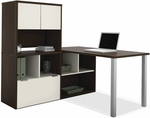 Contempo L-Shaped Desk with Open Storage and File Drawer - Tuxedo and Sandstone [50850-60-FS-BS]
