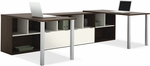 Contempo Two L-Shaped Desks Kit with Open Storage and Filing Drawers - Tuxedo and Sandstone [50855-60-FS-BS]