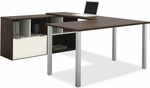 Contempo U-Shaped Desk with Scratch and Stain Resistant Finish - Tuxedo and Sandstone [50853-60-FS-BS]