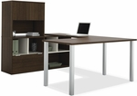 Contempo U-Shaped Desk with Open Storage and Filing Drawer - Tuxedo [50851-78-FS-BS]