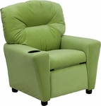 Contemporary Avocado Microfiber Kids Recliner with Cup Holder [BT-7950-KID-MIC-AVO-GG]