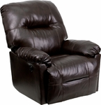 Contemporary Bentley Brown Leather Chaise Power Recliner with Push Button [AM-CP9350-9075-GG]