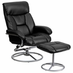 Contemporary Black Leather Recliner and Ottoman with Metal Base [BT-70230-BK-CIR-GG]