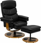 Contemporary Black Leather Recliner and Ottoman with Wood Base [BT-7828-PILLOW-GG]
