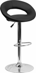 Contemporary Black Vinyl Rounded Back Adjustable Height Barstool with Chrome Base [DS-811-BK-GG]
