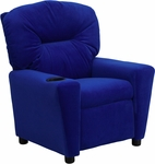 Contemporary Blue Microfiber Kids Recliner with Cup Holder [BT-7950-KID-MIC-BLUE-GG]