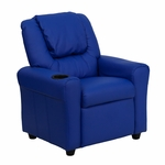 Contemporary Blue Vinyl Kids Recliner with Cup Holder and Headrest [DG-ULT-KID-BLUE-GG]
