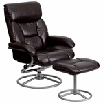 Contemporary Brown Leather Recliner and Ottoman with Metal Base [BT-70230-BRN-CIR-GG]