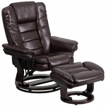 Contemporary Brown Leather Recliner and Ottoman with Swiveling Mahogany Wood Base [BT-7818-BN-GG]