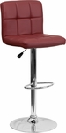 Contemporary Burgundy Quilted Vinyl Adjustable Height Barstool with Chrome Base [DS-810-MOD-BURG-GG]