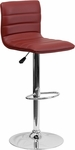 Contemporary Burgundy Vinyl Adjustable Height Barstool with Chrome Base [CH-92023-1-BURG-GG]