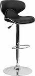Contemporary Cozy Mid-Back Black Vinyl Adjustable Height Barstool with Chrome Base [DS-815-BK-GG]